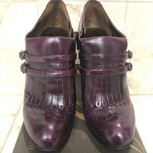 Enzo Anigiolini Dark Purple Leather Booties